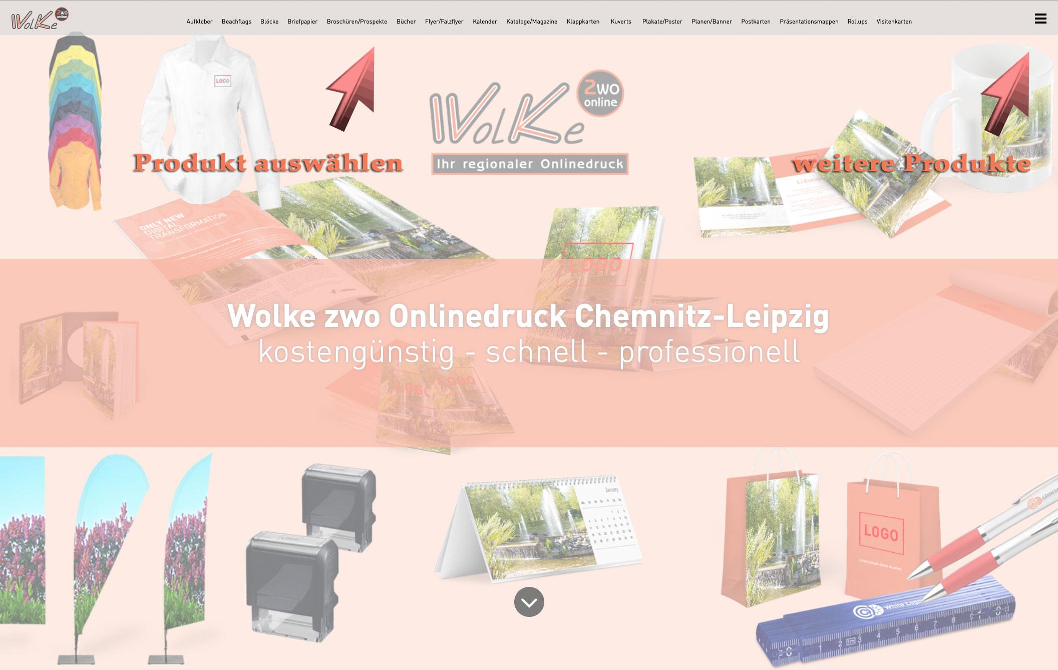 Onlinedruck mit Wolke zwo im Raum Chemnitz-Leipzig (Sachsen)
