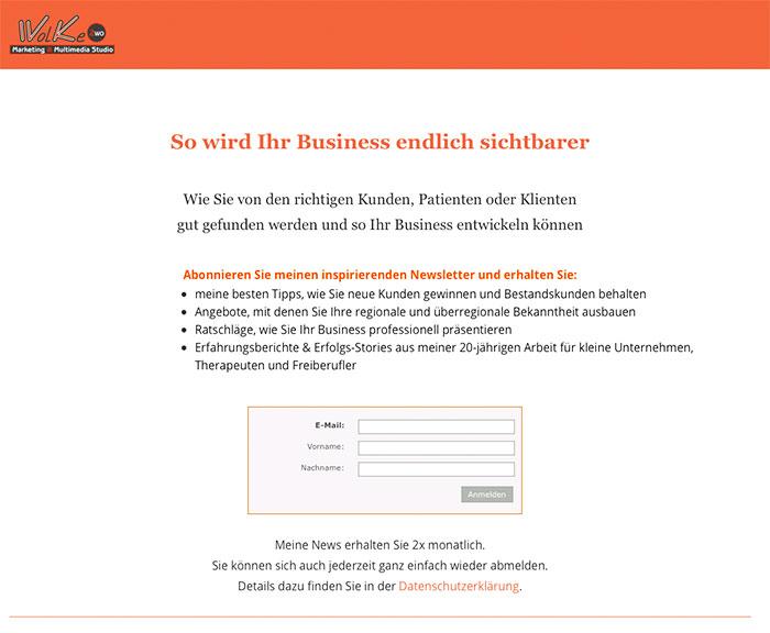 Eigene Landingpage für Newsletteranmeldungen