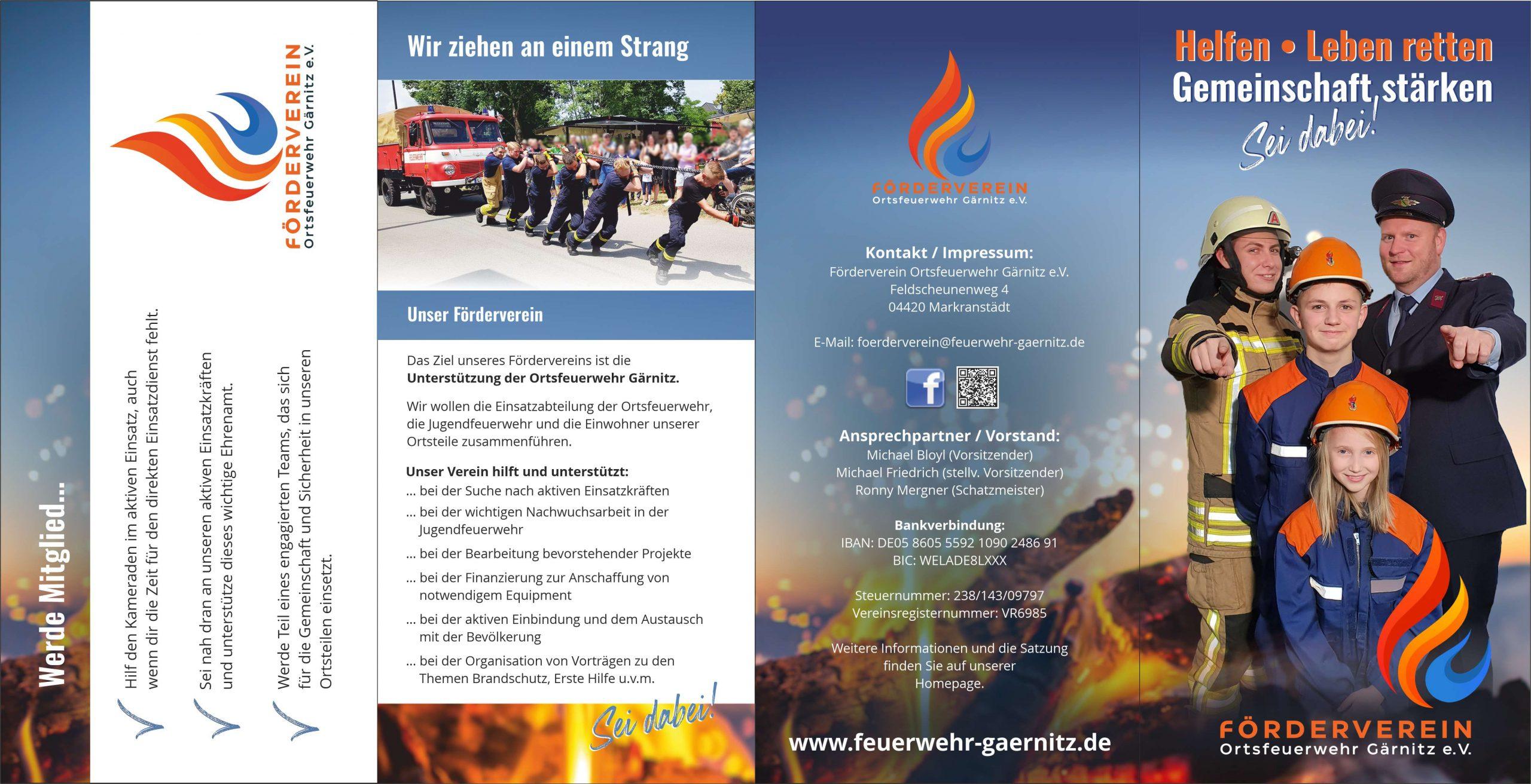 Flyer Gestaltung für den Förderverein der Ortsfeuerwehr Gärnitz