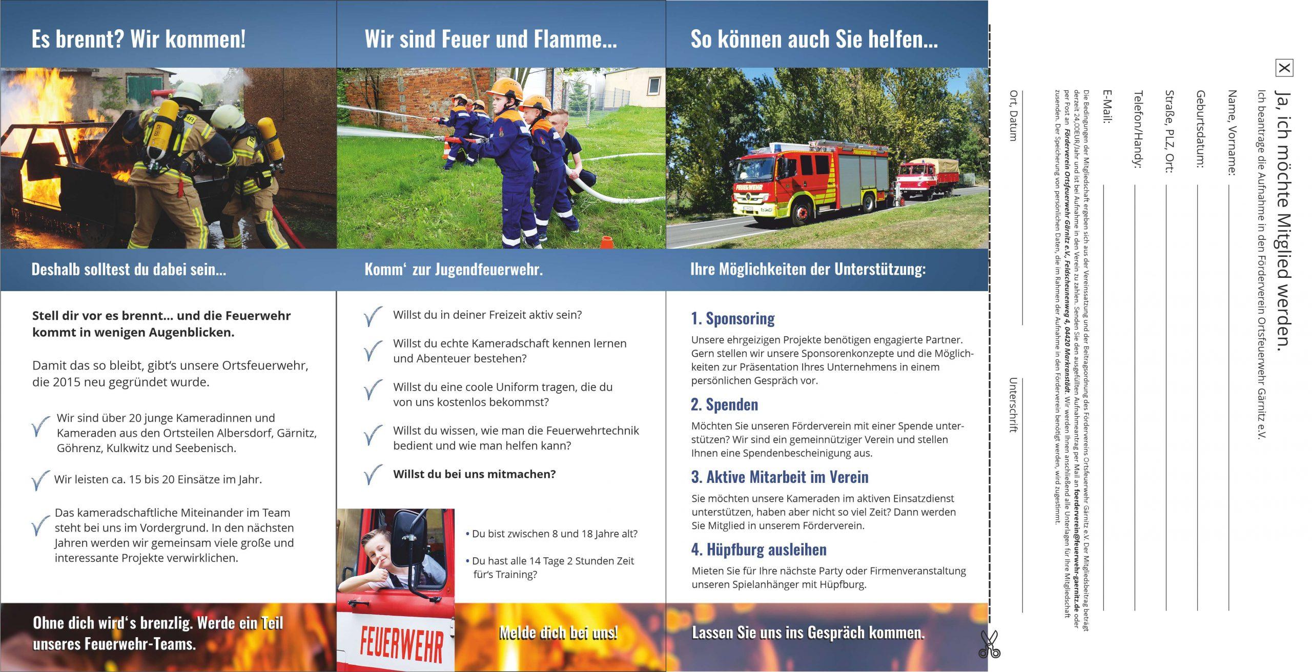 Flyer Gestaltung für den Förderverein der Ortsfeuerwehr Gärnitz, Innenseiten