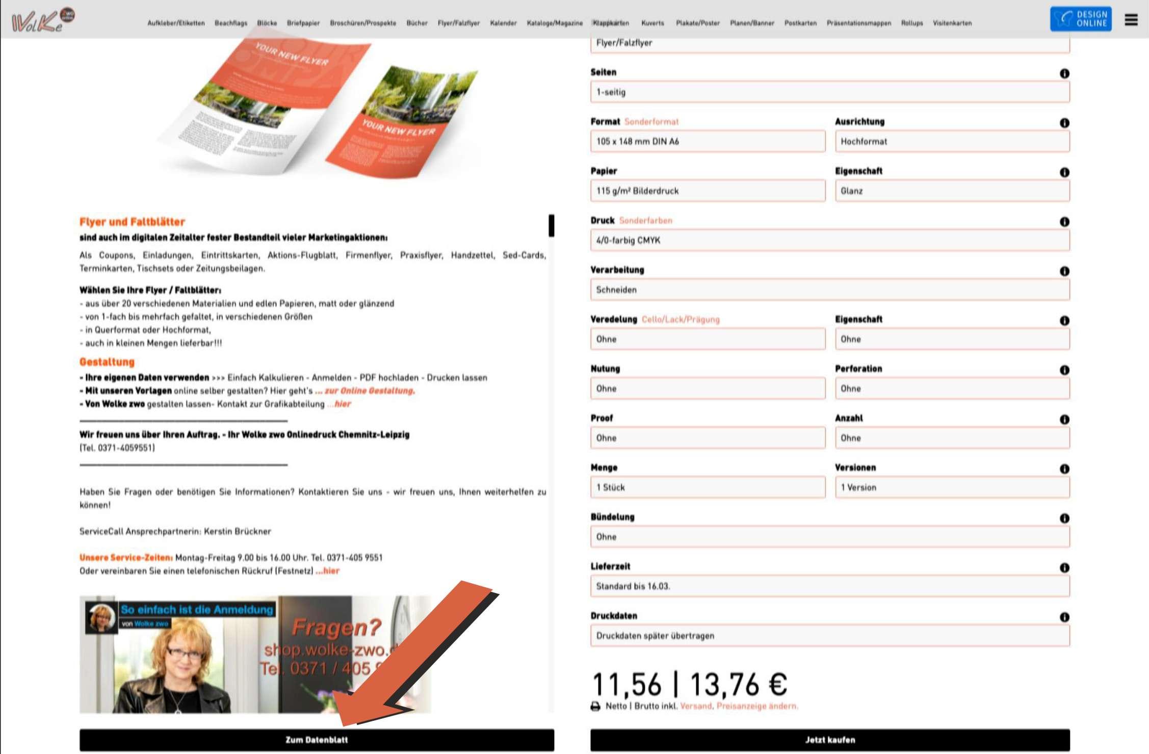 Datenblatt für richtige Seiten-Anordnung